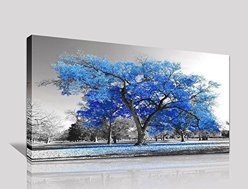youkiswall art Wall Art Painting Contemporary Blue Tree In